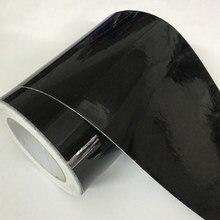 Folha de envolvimento lustrosa do envoltório do vinil da liberação do ar do preto do brilho da largura de 10cm