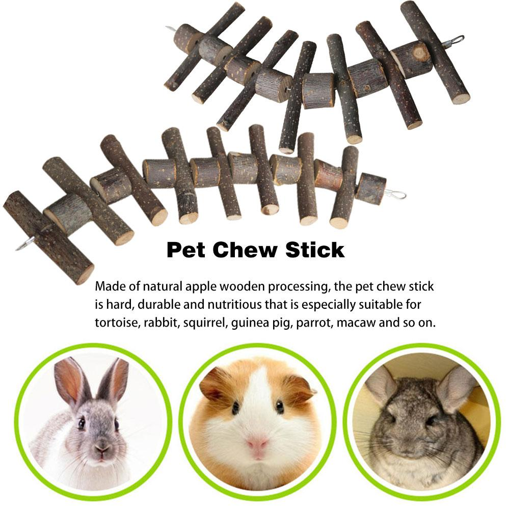 25CM/30CM Bunny Chew Toy Pet Tooth Chew Stick Natural Apple Wooden Molar Rod For Rabbits Chinchilla Hamsters Guinea Pigs