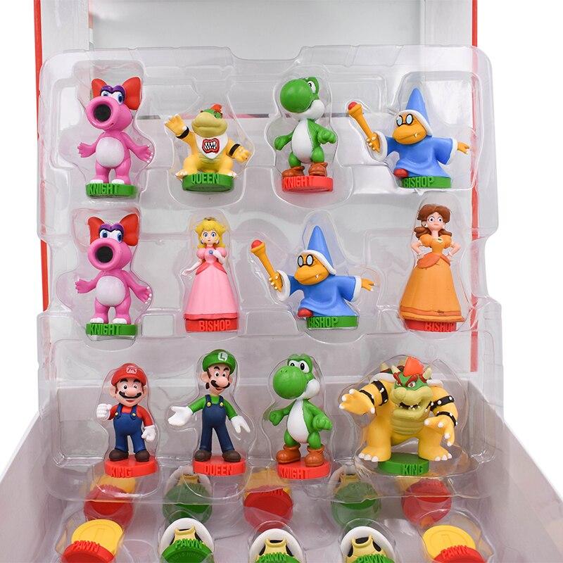 32Pcs/Set Super Mario Bros PVC Action Figures Toys Yoshi Peach Princess Luigi Shy Guy Odyssey Donkey Kong Chess Game Doll 1