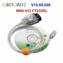 Najnowszy interfejs V15.00.028 MINI VCI dla TOYOTA TIS Techstream MINI-VCI FT232RL Chip J2534 kabel diagnostyczny OBD2 uwalnia statek