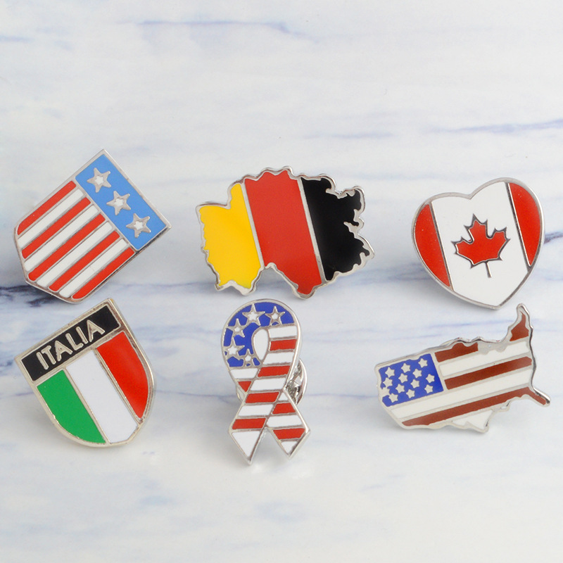 Germany U.S Canadian All countries flag badge Brooch Wholesale Loose coat Children's Birthday Gifts Brooch Pins Free Delivery(China)
