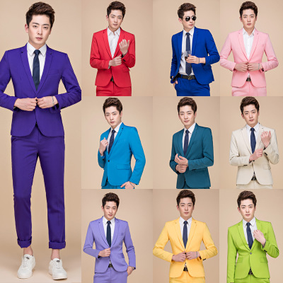 Business Men Formal Multicolor Wedding Suit Blazer Set 2 Pieces Khaki Pink Groom Host Chorus Group Outfit Solid Color Slim Coat