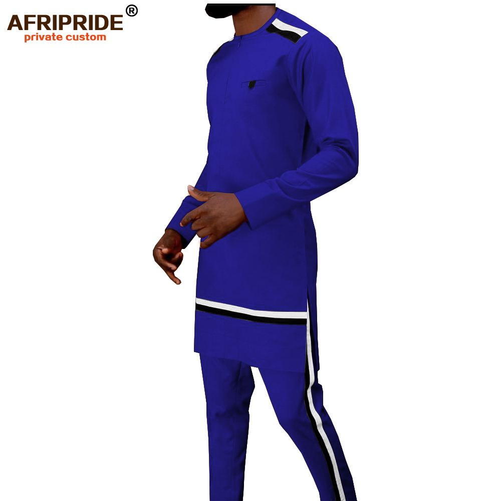 2019 Men`s Tracksuit African Dashiki Coats Shirts+ Ankara Pants 2 Piece Set Long Sleeve Blouse Tops Outwear AFRIPRIDE A1916037