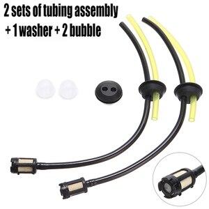 2 conjuntos de substituição da tubulação mangueira combustível + tanque filtro assy e grommet para grama trimmer strimmer cortador escova motosserra peças