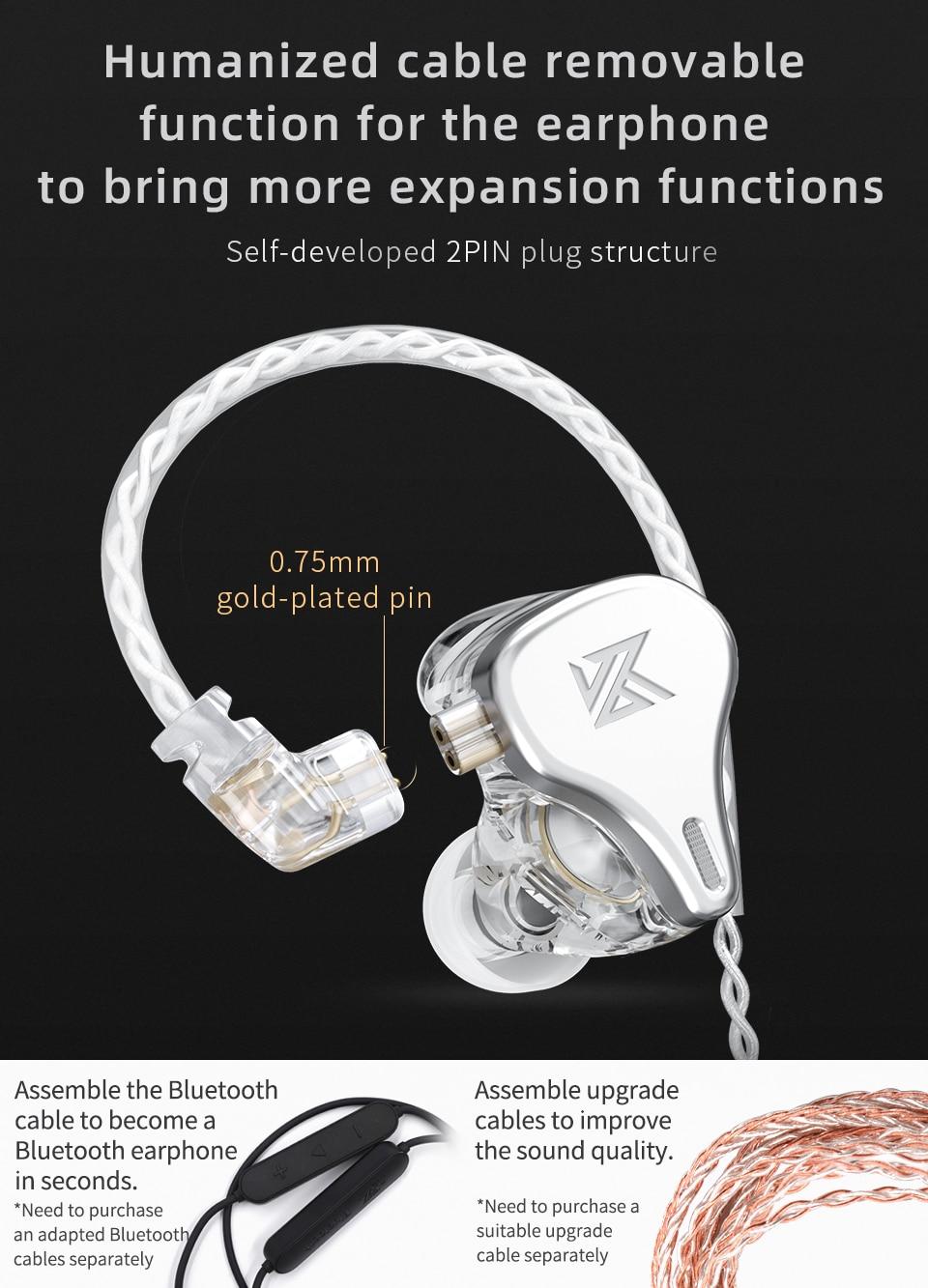 Kz earphone kz dq6 3dd bass hifi earbuds in-ear monitor noise cancelling music sport earphones kz zsx zs10 pro asx edx zsn pro x