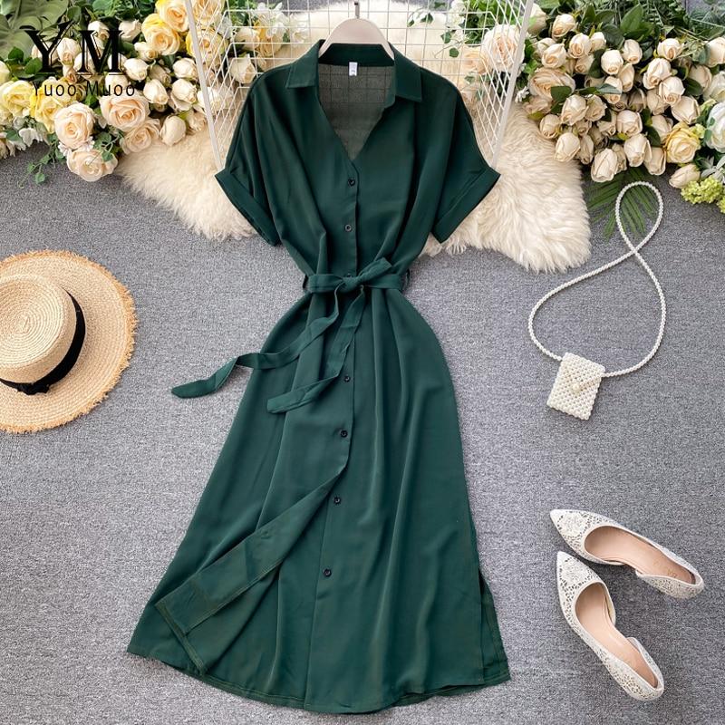 YuooMuoo Office Ladies Dress Elegant Single-breasted Sash Bandage Shirt Dress Women Summer Split Long Dress Fashion Green Dress