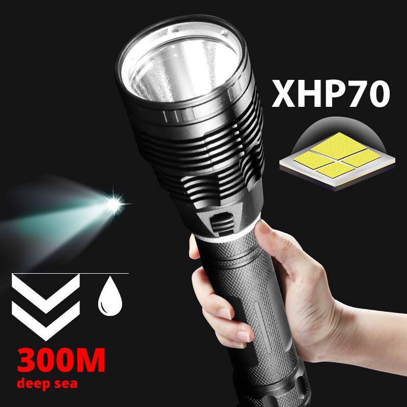 Super bright XHP70 Diving Flashlight IPX8 highest waterproof rating Professional dive light Powered by 26650 battery hand rope
