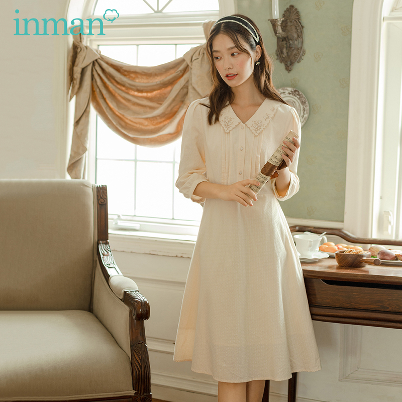 INMAN 2020 Autumn New Arrival Peter pan Collar Embroidered Middle Sleeve Cotton Milky Yellow Women Dress