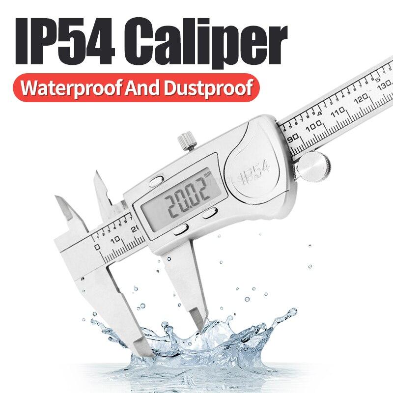 IP54 Digital Caliper Metal Ruler Gauge Stainless Steel Electronic Vernier Calipers Micrometer Depth Measuring Tools 6In/150mm