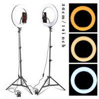 14 LED Selfie Ring Light Ring Lamp Makeup studio Photography lighting with Stand Tripod Annular Lamp for Video YouTube Photo
