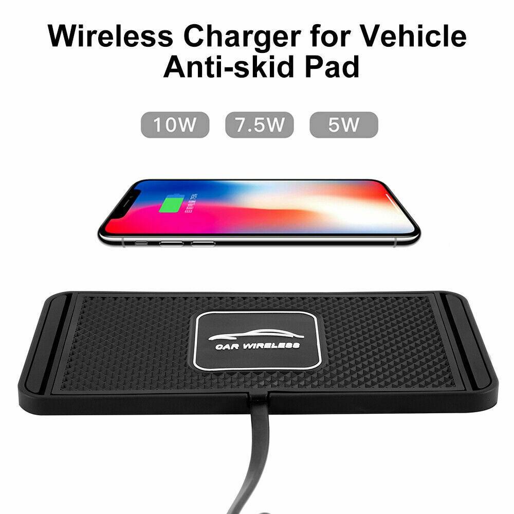 10 Вт, 2 в 1, нескользящий Силиконовый коврик, держатель приборной панели автомобиля, подставка для быстрой зарядки Qi, беспроводное зарядное у...