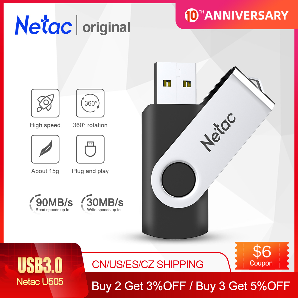 Netac Mental USB Flash Drive 16GB 32GB 64GB 128GB 256GB Pen Drive Pendrive USB 3.0 Flash Drive Memory Stick USB Disk Black Color