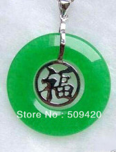 free shipping >>>>>5PCS Solitaire Green Jade Chinese dragon totem column pendant Silver With Necklace(China)