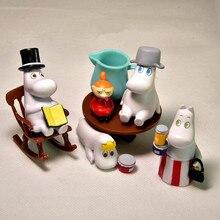 Puppenhaus Puzzle Cascading Mumin Familie Jenga Schicht Micro DIY Landschaft PVC Modell für kinder Weihnachten Geschenke