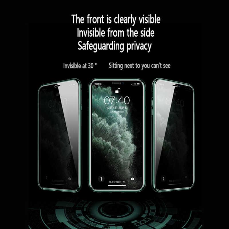 زجاج معالج للخصوصية المغناطيسي حقيبة لهاتف أي فون 11 برو ماكس X XS XR 8 7 6 6s زائد مكافحة زقزقة المغناطيس معدن 360 درجة غطاء للحماية