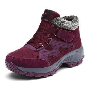 Image 3 - Caminhadas sapatos para mulher de couro real antiderrapante ao ar livre caminhadas botas sapatos de trekking à prova dwaterproof água esporte tênis de acampamento sapatos esportivos