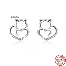 Hot Sale Authentic 925 Sterling Silver Cute Cat Small Stud Earrings for Women Fashion Sterling Silver Jewelry SCE271