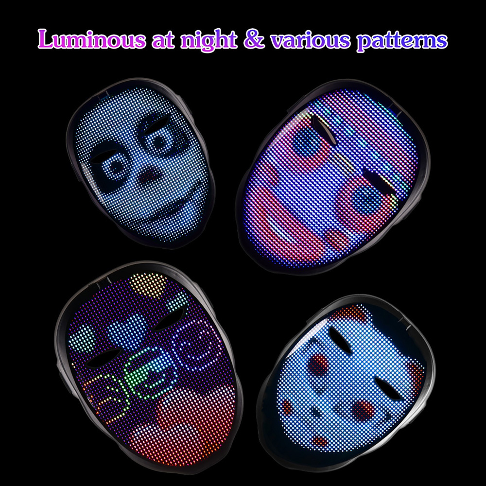 Halloween Light Up Mask with LED Screen APP Controlled LED Mask Full color LED  Face changing Luminous Mask Support DIY Image|CCTV Monitor & Display| -  AliExpress