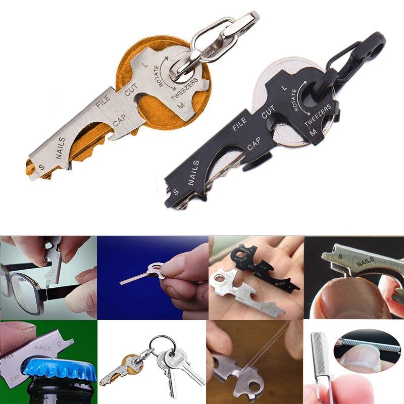 Multifunction gadget multitool keytool gear pocket keychain multipurpose edc multi carabiner quickdraw 8 tool in 1 key ring(China)