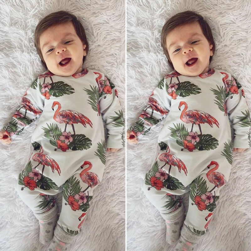 Autumn Newborn Baby Boy Girl 0=24M Clothes Flamingo   Romper   Jumpsuit Overall Outfit Set