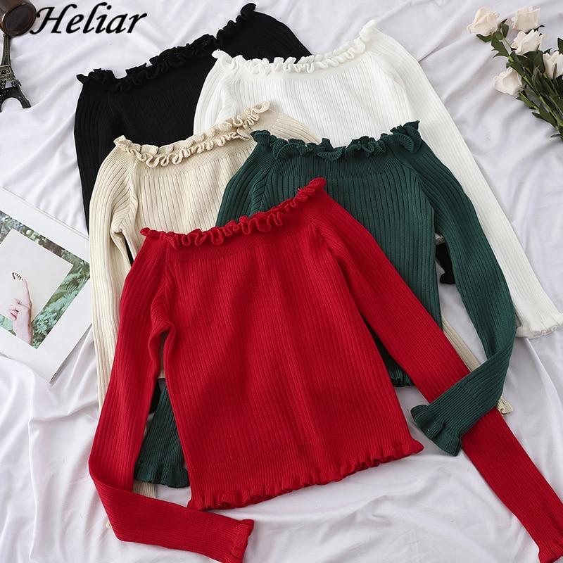 HELIAR красный Однотонный свитер с открытыми плечами Повседневный джемпер весна осень офис с длинным рукавом женский свитер эластичный сексу...