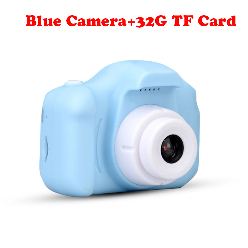 13.0MP перезаряжаемая детская мини-цифровая камера 2,0 дюймов HD экран видеомагнитофон видеокамера язык переключение тайм съемки - Цвет: Blue Camera-32G TF