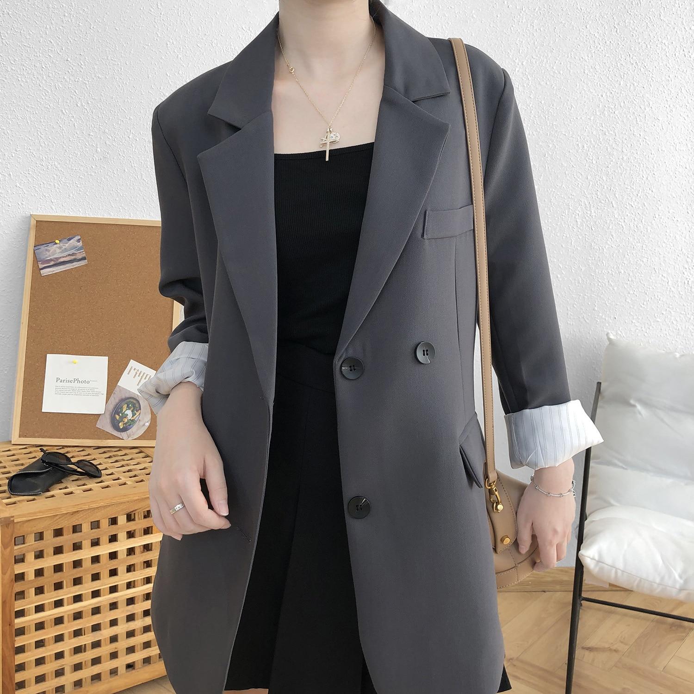 Fall 2020 Women suit Blazer women Jacket Loose grey coat Double Breasted Casual Office Lady Long Sleeve Slim Blazers Female