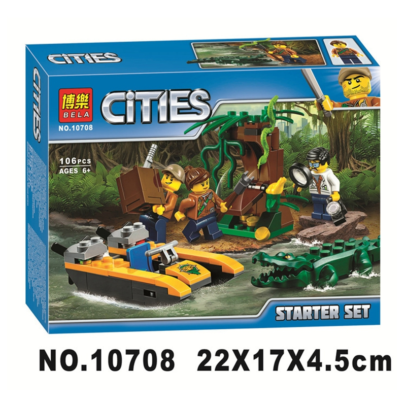 New 106pcs City Series The Explorers Jungle Model Building Blocks City Bricks Toys For Children 60157