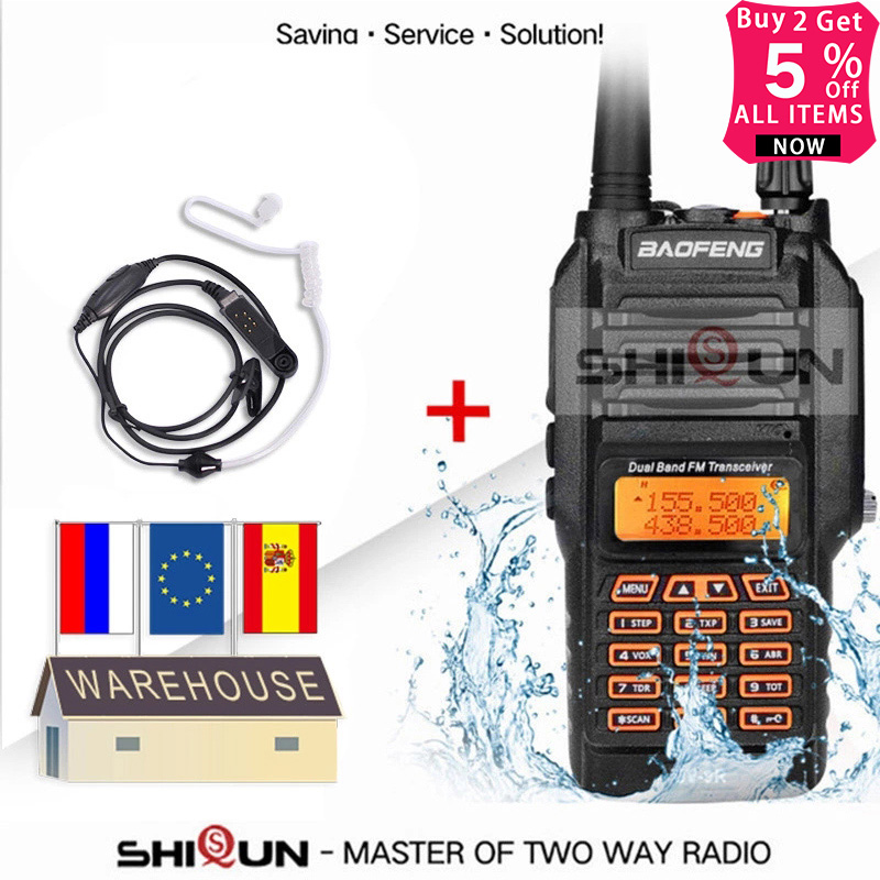 Baofeng UV-9R Plus Acoustic Headset IP67 Waterproof Dual Band 136-174/400-520MHz Ham Radio Baofeng 8W Walkie Talkie 10 KM UV 9R