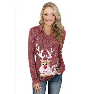 Лидер продаж 2020, пуловер на молнии с рождественским оленем и снежным принтом, Топ для женщин, топы в горошек, блузка, рубашка, осенне-зимняя т...