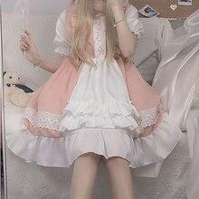 Maid-Dress Puff-Sleeve QWEEK Harajuku Birthday Japanese Pink Goth Soft-Girls Ruffle Kawaii Lolita