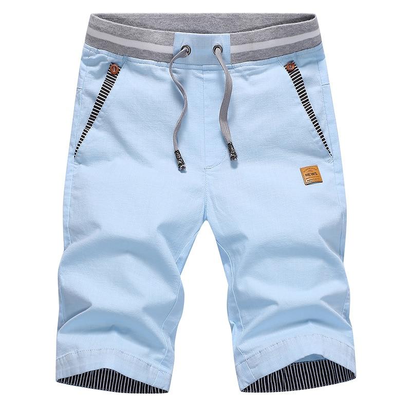 Cotton Linen MEN'S Shorts Summer Casual Pants Shorts Summer Sports Ultra-Thin 7 Points Fashion Man Slim Fit