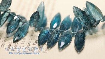 Cuentas sueltas de una pieza con forma de marquesa de cianita azul facetadas de 10-25mm AAA para hacer joyería DIY FPPJ venta al por mayor piedra preciosa natural