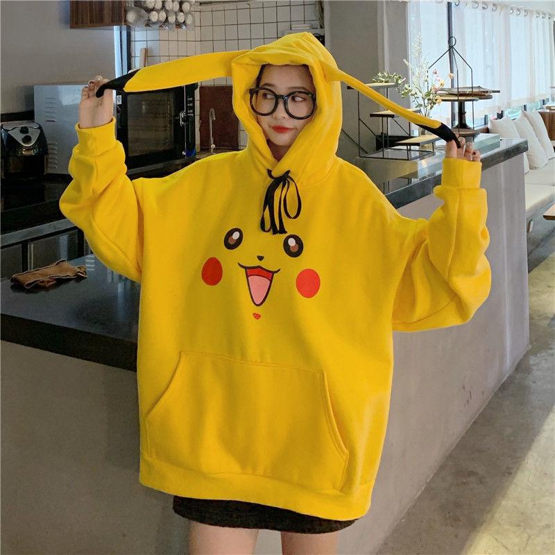 Pokemon Pikachu Winter Print Hoodies Plus Velvet Thickening Women Anime Kawaii Hooded Cute Ears Sweatshirts Long Sleeve Hoody
