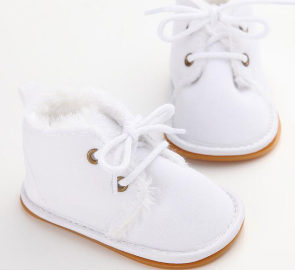 SandQ Baby Boots Newborn White Girls Infant Shoes Prewalkers Crib Nonslip Fur 2019 Winter Warm Christenning Baby Boys Boots