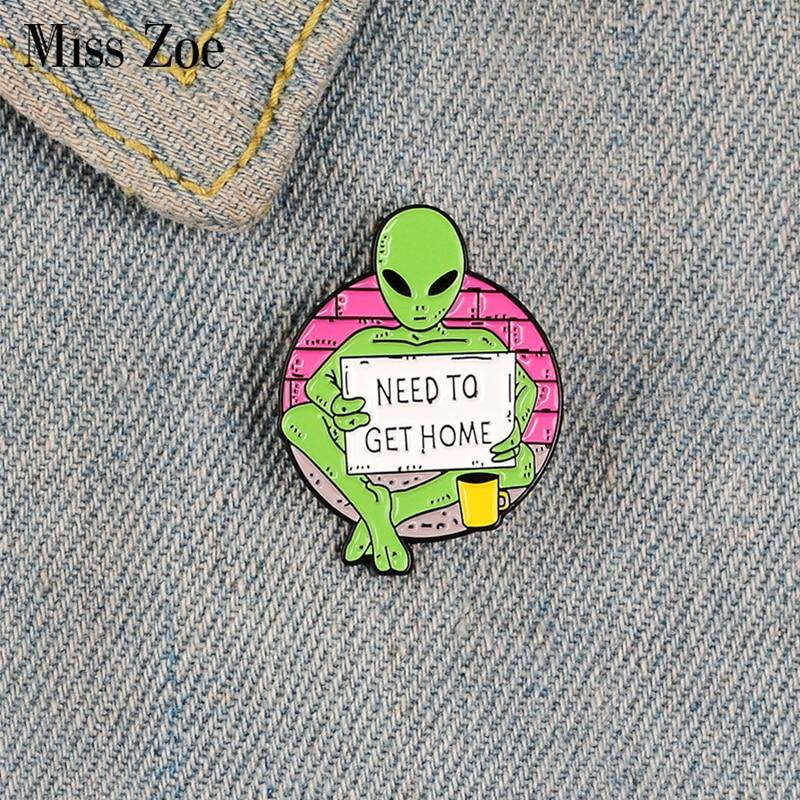 Прошу и эмали штырь изготовленный на заказ броши с инопланетянами для рубашка лацкан рюкзак баннер смешной значок, ювелирное изделие в пода...