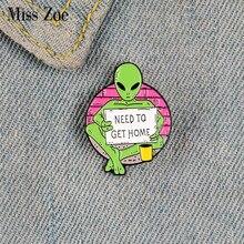 Rogging ET-Pin esmaltado personalizado para camisa, broches de alienígenas, solapa, cartel para mochila, insignia regalo de la joyería para niños y amigos