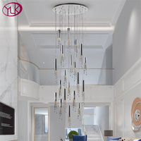 Luxury modern staircase chandelier lighting round gold/chrome crystal lamps large hallway lobby hanging led light fixtures