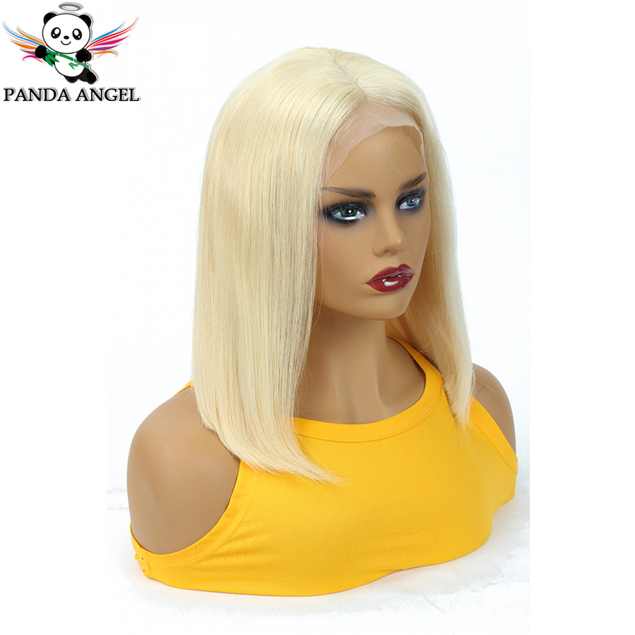 Panda Angel 13x4 613 Honey Blonde Lace Front Wig Brazilian Remy 1B 613 Short Ombre Bob Human Hair Wigs For Women 6-16 Inches