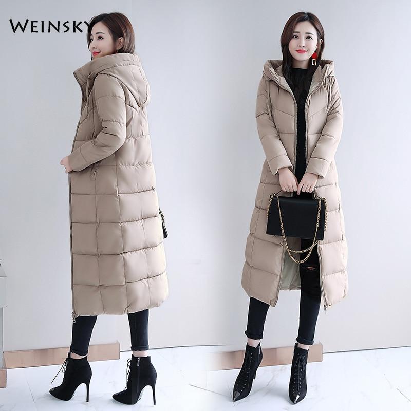 2019 Новое модное женское зимнее пальто с капюшоном Длинная тонкая теплая куртка пуховик с хлопковой подкладкой верхняя одежда элегантные парки