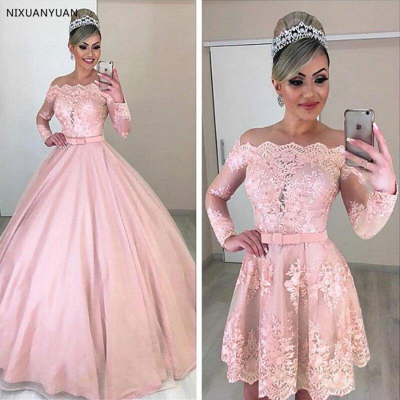 Unique Tulle Off-the-shoulder Neckline 2 In 1 Wedding Dresses Long Sleeves & Bowknot & Detachable Skirt Pink Bridal Dress