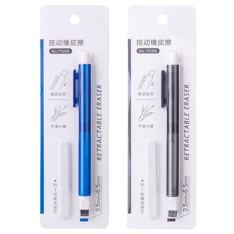 Eraser Mechanical Eraser Meticulous Highlighting Refillable Pen Shape Rubber Press Type School Stationery