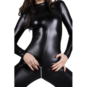Image 3 - Sexy Faux Leather Lingerie Bodysuit Women Latex pvc catsuit Open Crotch Costumes fetish Wear Hot Erotic Clubwear Plus Size XXXL