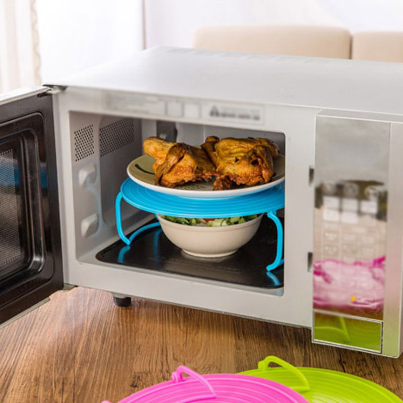 Microwave Oven Heating Steaming Rack Double Insulation Tray Steaming Rack Bowls Holder Organizer Tool Kitchen Accessories
