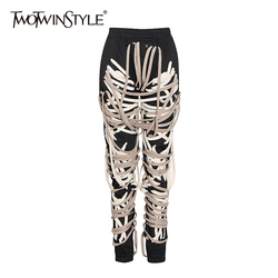 TWOTWINSTYLE Casual Patchwork Bandage Black Pants For Women High Waist Plus Size Harem Pants Female 2020 Autumn Fashion New