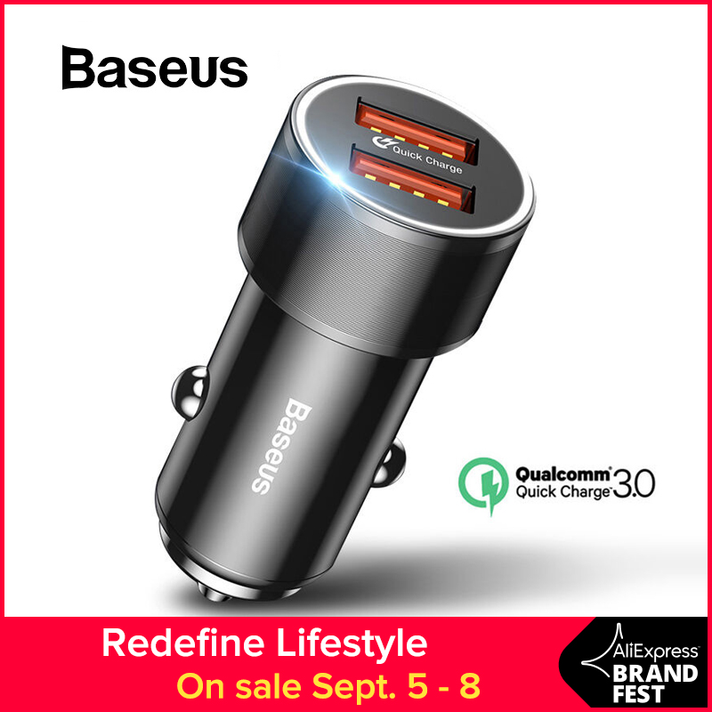 Baseus 36W Dual USB Quick Charge QC 3.0 Car Charger For iPhone USB Type-C PD Fast Charger Mobile Phone Quick Charger Car-Charger turbine