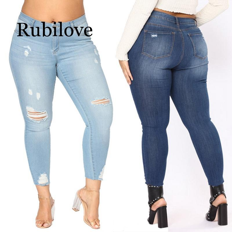 Rubilove 2019 Pencil Pants Vintage High Waist Hole Ripped Denim Jeans Casual Button Fly Stretch Trousers Large Size 7XL Pants