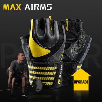 Maxairms 1 para rękawice siłownia pół palca oddychające rękawice fitness do podnoszenia ciężarów hantle podnoszenie ciężarów rękawice gimnastyczne tanie i dobre opinie DIWEINI