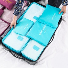 6pcs/set Collection Travel Bags Waterproof Clothes Underwear Duffle Bag Finishing Suitcases and