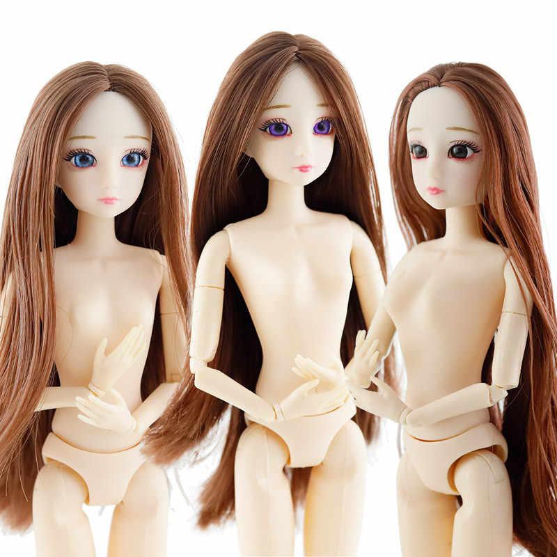 Новинка 2020, подвижные шарнирные куклы bjd с объемными большими глазами, длинные парики, настоящие ресницы, Обнаженная голова куклы, рождественский подарок для девочек